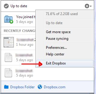 Dropbox afsluiten