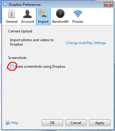 Schakel screenshot upload anar dropbox uit!