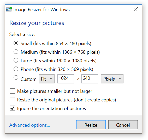 Contextmenu (rechtsklik) van ImagerResizer
